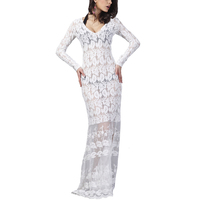 Spring Women Evening Party Dresses White Lace Full Sleeve Mesh Long Crochet Dress Vestidos De Festa