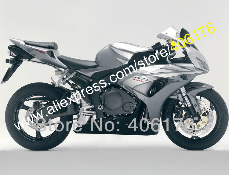 Hot Sales,For Honda CBR1000RR 2006 2007 CBR1000 RR Silver gray Black CBR 1000RR 06 07 Motorcycle Fairing Kit (Injection molding)