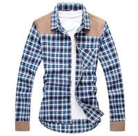 Men Shirt 2016 New Spring Plaid Shirts Luxury Slim Fit Long Sleeve Brand Formal Business Fashion