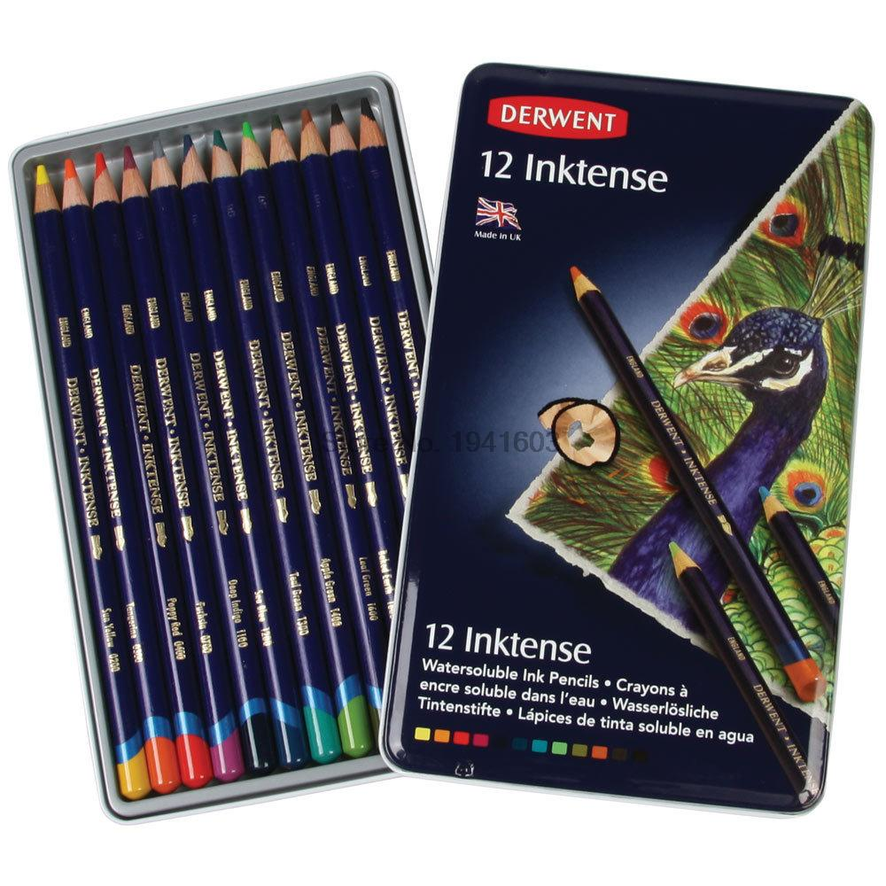 Image 2 - 12 Pcs/Lot Derwent Inktense 12 Pencils Tin Set Soluble Pencil for Painting rotulador-in Standard Pencils from Office & School Supplies