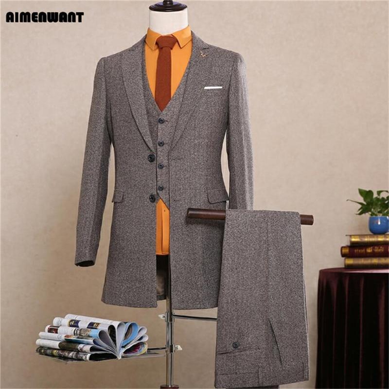 AIMENWANT 2018 new fashion business casual suit set male slim woolen blazer+vest+pants suits gentleman wedding suit
