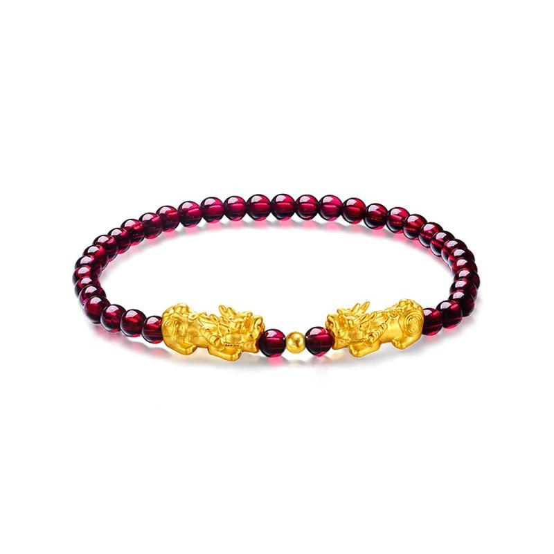 FNJ 24k Gold Pixiu Bracelet for Women Jewelry New Fashion 18k bead Natural Garnet Blue Lapis Lazuli Red Agate black agate bead bracelet 17cm