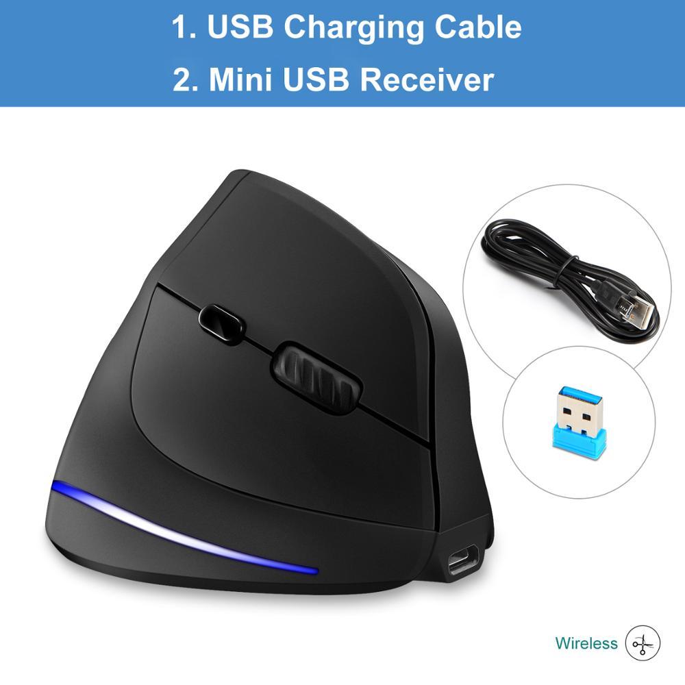 Lefon New Upgraded Rechargeable Wireless Mouse Gamer Ergonomic Optical 2 4G 1000 1600 2400 DPI USB