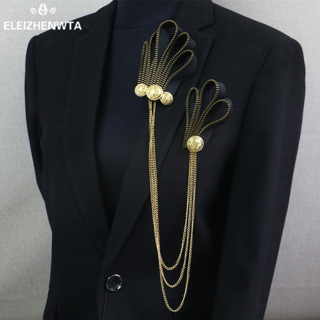 Handmade Brooches Male Men Women Boutonniere Suit Brooch Pin Zip Black Gold Wedding Prom Performance Show