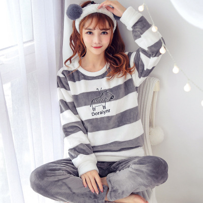 Female   Pajamas     Set   Polyester Full Trousers Lady Two Piece Warm Thickness Flannel Winter Women's Home Clothing