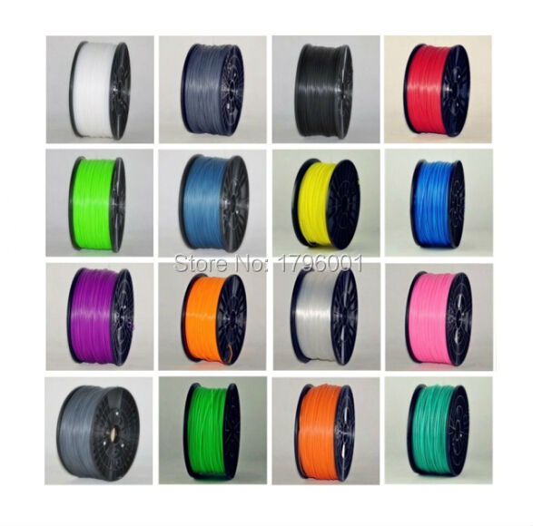 Muticolor 3d printer filaments PLA/ABS 1.75mm/3mm 1kg plastic Rubber Consumables Material MakerBot/RepRap/UP/Mendel abs gold filaments 1 75mm 1kg spool wanhao 3d printer