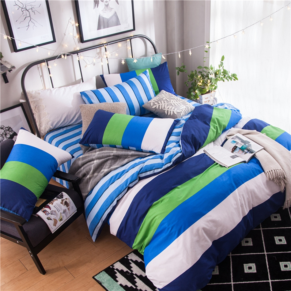 green white blue striped bedding set cotton  bright color  - green white blue striped bedding set cotton  bright color duvet coverset bedding pillowcase soft bed sheet warm quilt coverin bedding sets fromhome