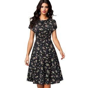Image 3 - Nice forever vestido de verano de mujer, Retro, flor solar estampada, fiesta de negocios, acampanado