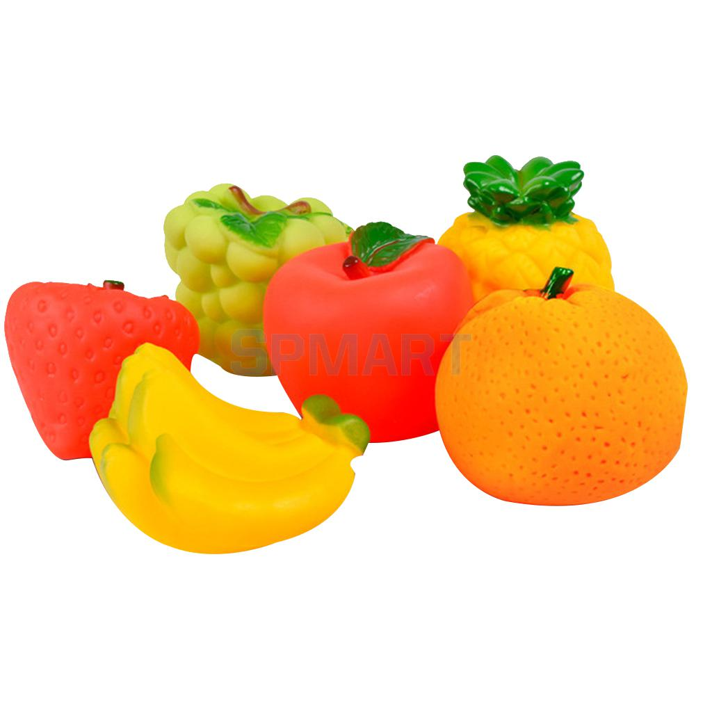 6pcs Cute Rubber Squeaky Fruit Baby Kids Bathroom Swimming Pool Bath Toys