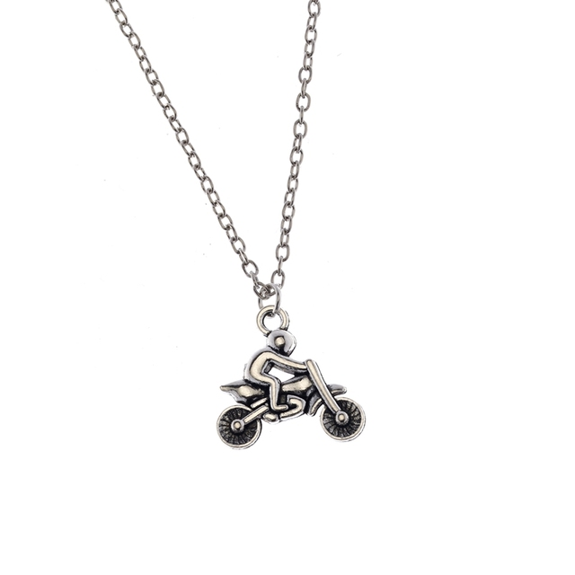 Antique Silver Biker Urn Necklace