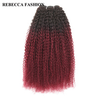Rebecca Non Remy Brazilian Human Hair Weave Bundles 100g Afro Kinky Wave Ombre Wine Red Brown