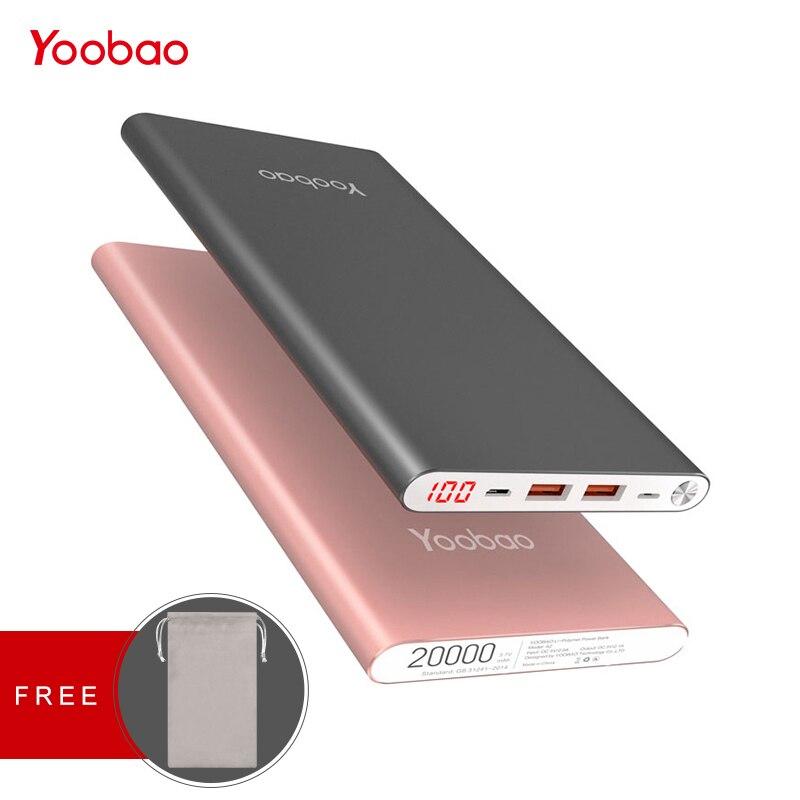 Yoobao A2 Accumulatori e caricabatterie di riserva 20000 mah Per Xiao mi mi 2 usb carica VELOCE Portatile Poverbank Per Samsung Galaxy S8 S7 s6 J3 Telefono Powerbank