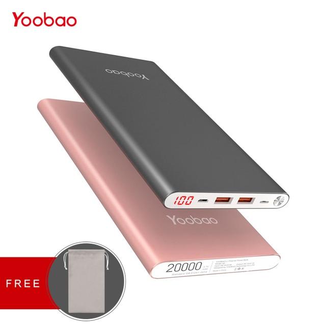Yoobao A2 Мощность Bank 20000 мАч для Xiaomi Mi 2 USB быстрая зарядка Портативный повербанк для samsung Galaxy S8 S7 S6 J3 телефон Мощность банк
