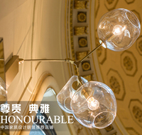 3 Heads American Style Creative Glass Bubble Ball Wall Lamp Modern Simple Bedroom Balcony Branch Wall