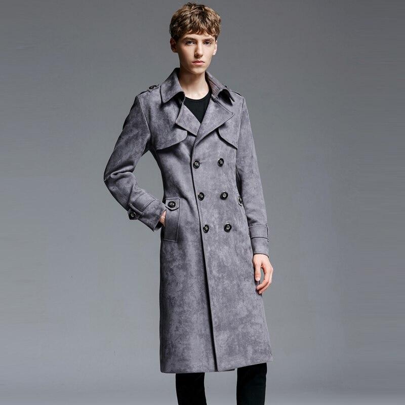 Бесплатная доставка осень зима Для мужчин новый двубортный пальто из замши Ткань длинный плащ пальто Для мужчин плюс Размеры ветровка Курт