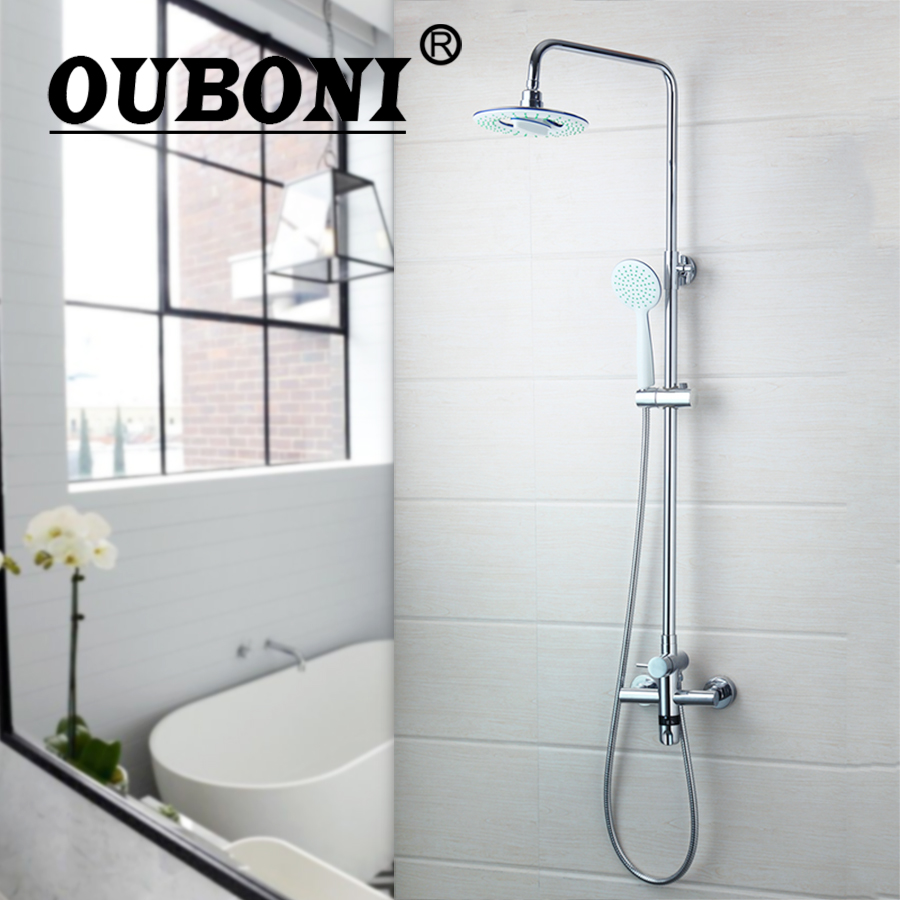 OUBONI Thermostatic Faucet Wall Mount Bathroom 8 Rain Shower Head Chrome+Held head Shower Faucet Set Bathtub Mixer Tap kemaidi new modern wall mount shower faucet mixer tap w rain shower head