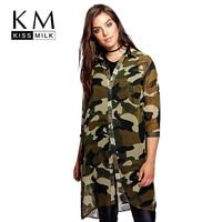 Kissmilk Plus Size Women Chiffon Camo Camouflage Shirt Dress 3/4 Sleeve Boyfriend Longline Shirt Big Size Dress 3XL 4XL 5XL 6XL