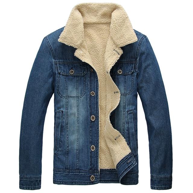 d96a6b6932f Winter Woolen Liner Man Jeans Denim Jacket Turn-down Collar Single Breasted Coat  Thicken Warming