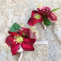 Red Anemone Party Prom Wedding Flowers Wedding Best Man Boutonniere Branches Mix colors Corsage Pin Groom anemone Groomsman