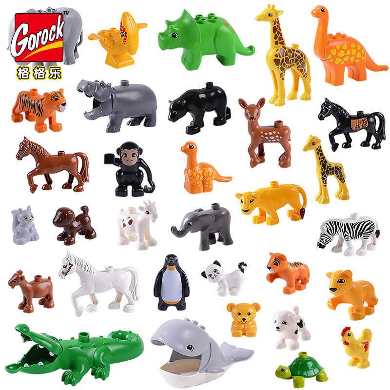 50-10 шт. Duplo Animal крупные частицы fit Legoings Duplo фигурки животных город зоопарк модель строительные блоки кирпичи детские игрушки DIY подарок