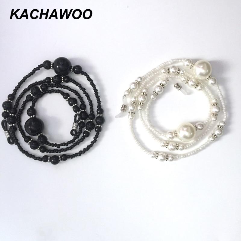 Kachawoo pearl bead chain glasses rope black white