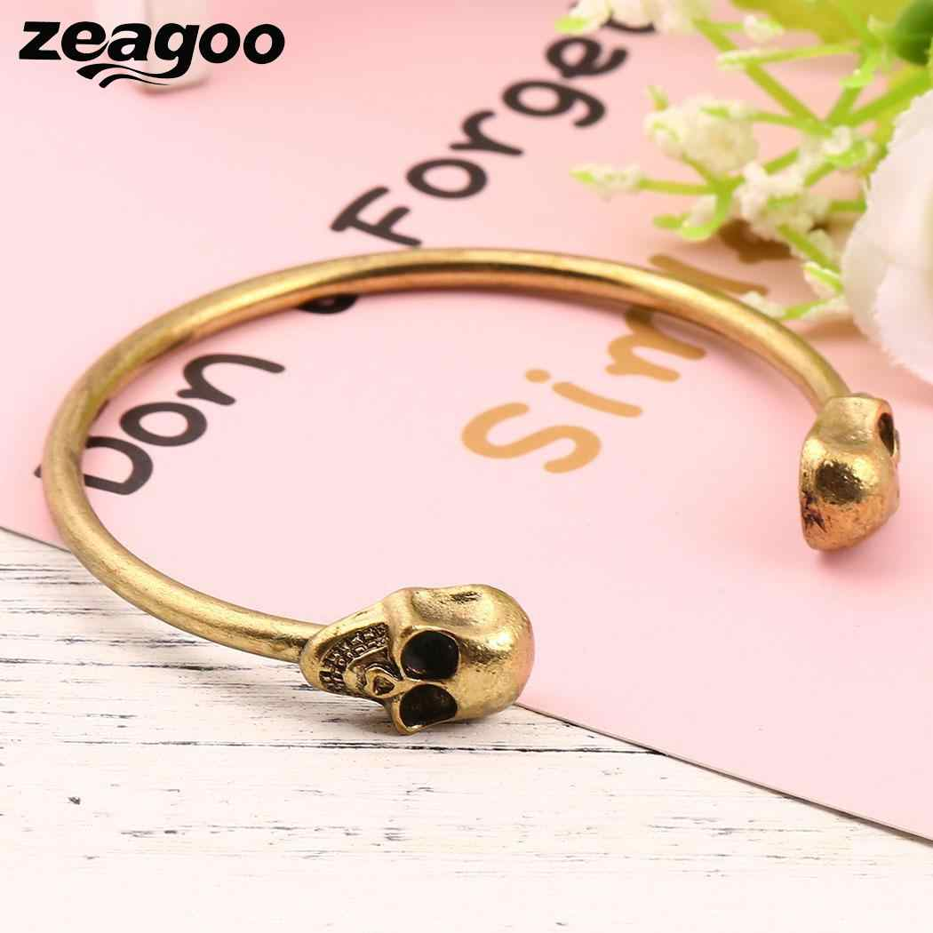 Zeagoo Fashion Double Skull Opening Unisex Bangle Bracelet Alloy Metal Cuff Jewelry Casual Party Costumn Male Bangles Bracelets