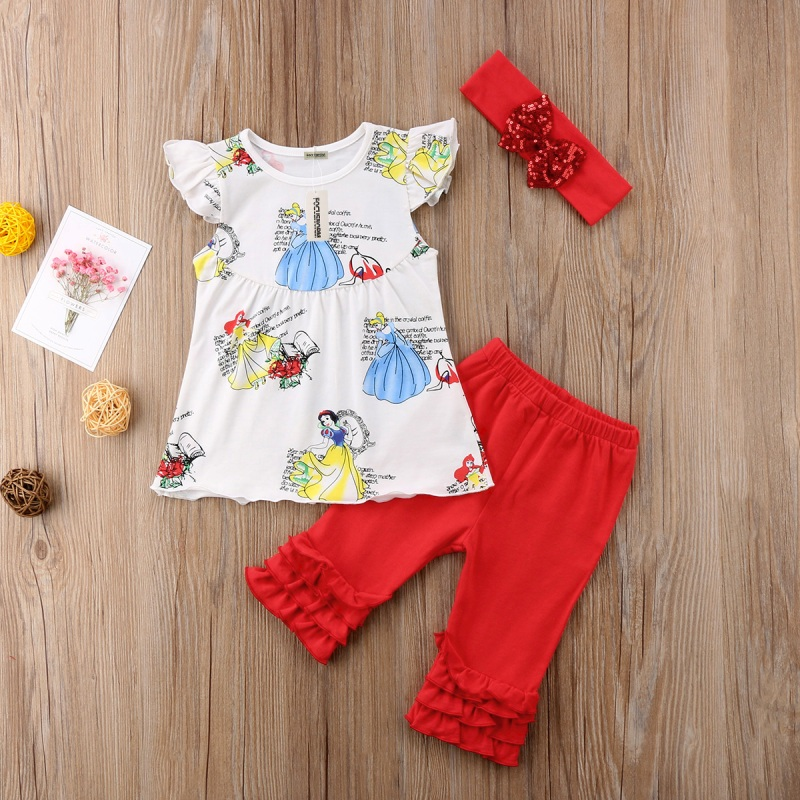 Summer Kids Girls Outfits Clothes Toddler Snow White Tops Pants 3PCS Set Baby Girl White Shirt Printed Long Pants Red