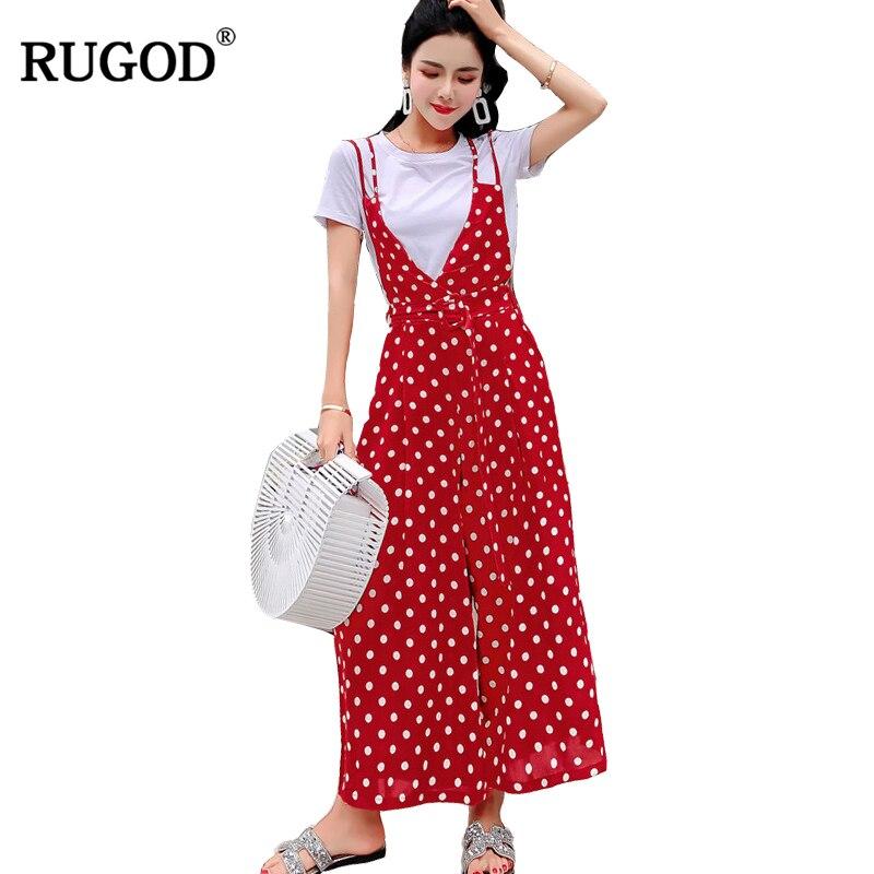 RUGOD 2018 Fashion Casual Women Jumpsuits Loose Female High Waist Sets Small Dot Sling Short Sleeve Elastic Waist Lady Playsuit
