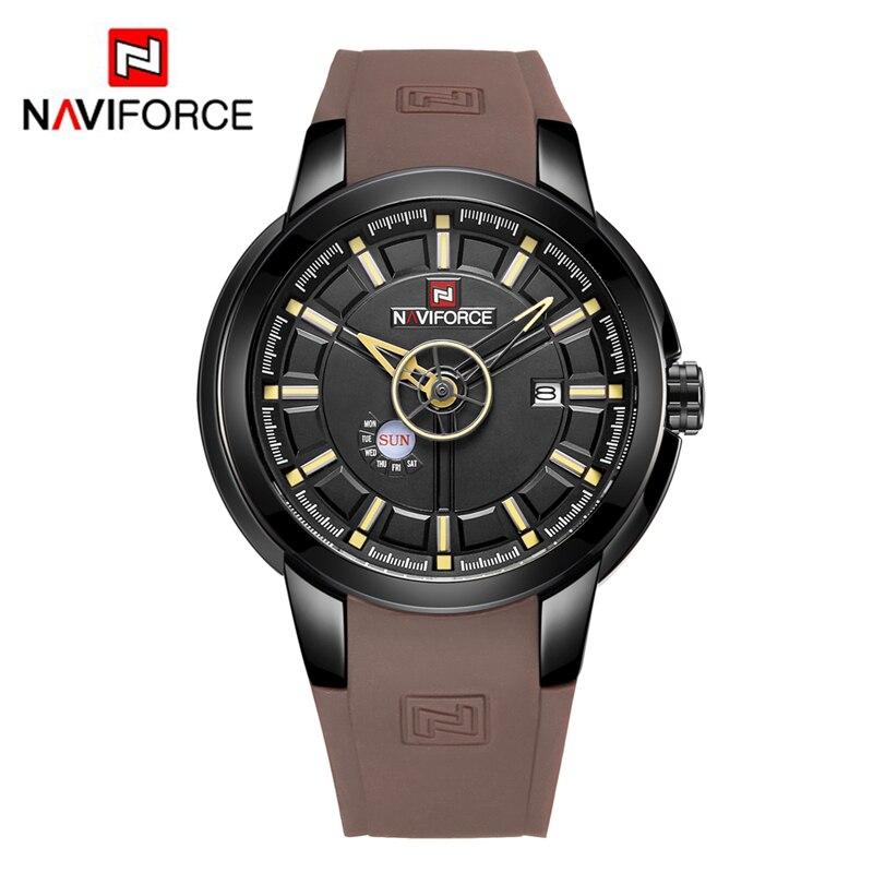 NAVIFORCE Men Silicone Band Wristwatches Waterproof Quartz Analog Display Date Day Week Wrist Watch Fashion Casual Watches 9107 super speed v0169 fashionable silicone band men s quartz analog wrist watch blue 1 x lr626
