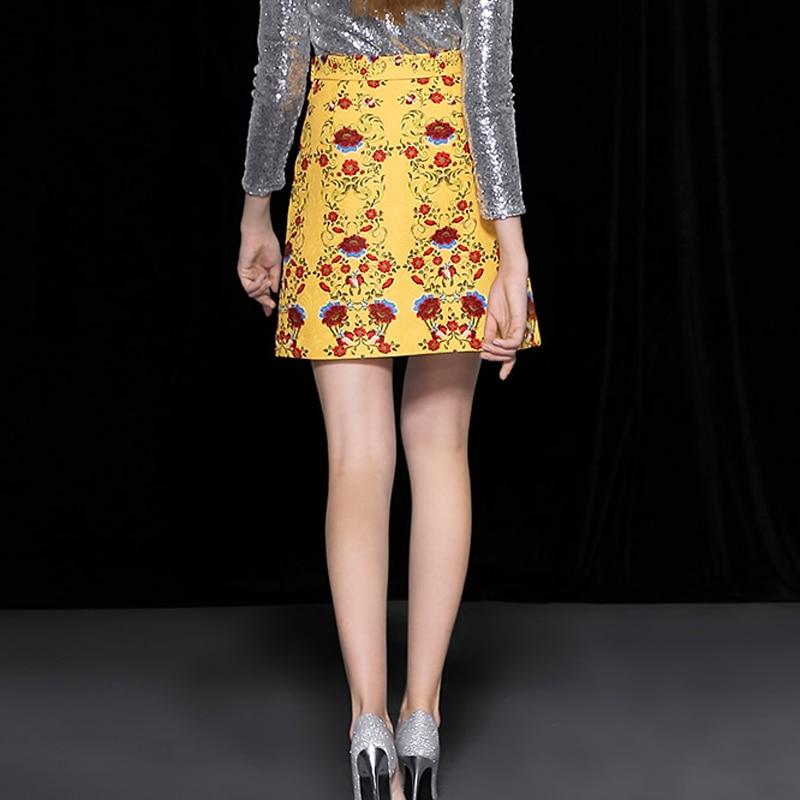 2018 Conception Slim Motif Taille Rose Chute Impression A ligne Nouvelle Piste Boutons Jupe Coton Empire Femmes Jacquard De Vintage La 8r8Uxq