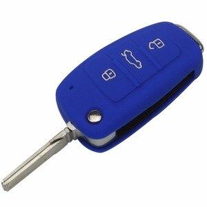 Image 4 - Jingyuqin housse pour clés de voiture à 3 boutons, en Silicone, housse pour clé de voiture, pour Audi A1, A3, Q3, Q7, R8, A6L, TT