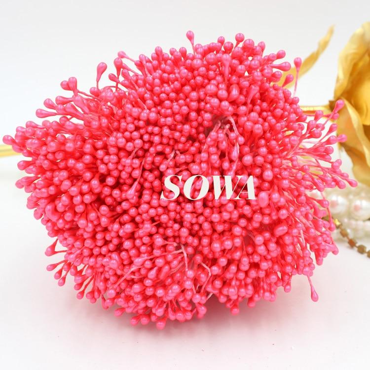 Бесплатная доставка Размеры 3 мм 900 шт./лот двойной голова темно-розовый цвет цветок жемчуг тычинки украшения торта корабль DIY Свадьба