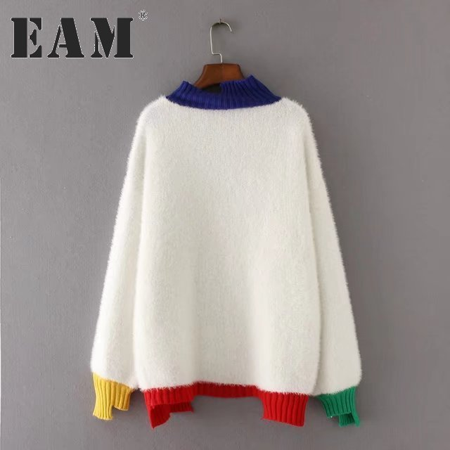 [EAM] 2017 Autumn Winter Fashion New Long Sleeve Sweater High Collar Hit Color Hem Rabbit's Fur Knitting TopsWoman YA60700