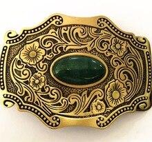 Pure Copper Shiny Vintage Antique Belt Buckle Brass & Jade Western Cowboy Mens Fashion Fine Accessory