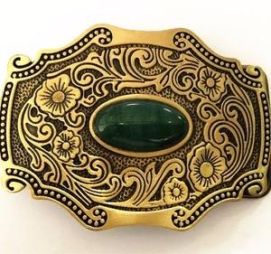 Image 1 - Pure Copper Shiny Vintage Antique Belt Buckle Brass & Jade Western Cowboy Mens Fashion Fine Accessory