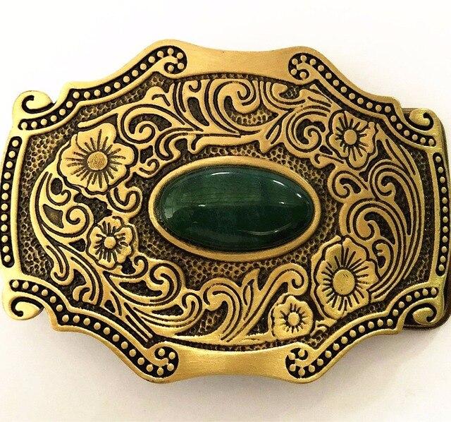Puro cobre brilhante vintage antigo fivela de cinto bronze & jade ocidental cowboy moda dos homens acessório fino