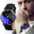 Moda Faux Leather Men relógios de pulso Homem relojes Hour Blue Ray Vidro de Relógio de Quartzo Dos Homens Relógios Top Marca de Luxo Relógios Casuais