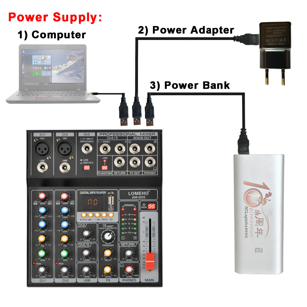 Image 2 - LOMEHO AM G05 Portable Bluetooth USB Play Record 5 Channel PC Playback Guitar 2 Mono 1 Stereo Professional Audio Mixer-in Professional  Audio Recording from Consumer Electronics