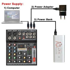 Image 2 - LOMEHO AM G05 휴대용 블루투스 USB 재생 기록 5 채널 PC 재생 기타 2 모노 1 스테레오 전문 오디오 믹서