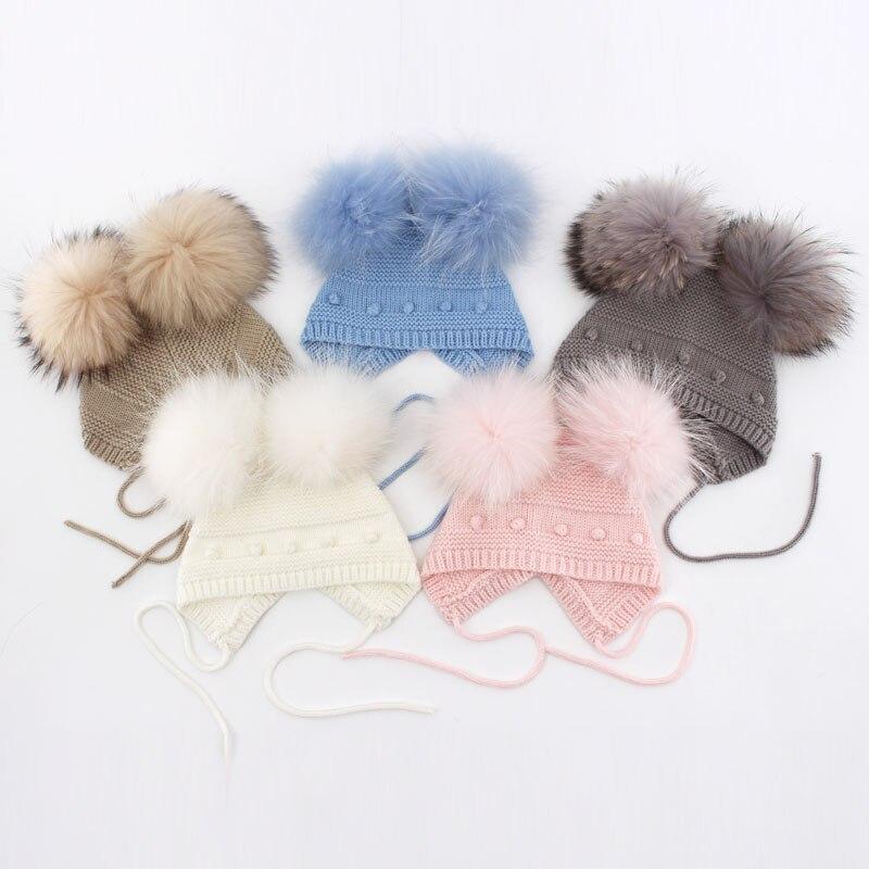 1-12months Schöne Baby Dot Beanie Hut Mit Flauschigen Doppel Fell Pom Pom Fashion Caps Für Mädchen