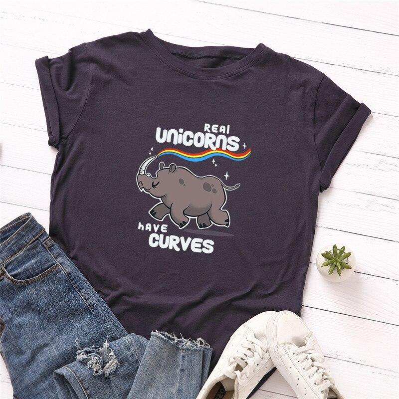 Plus Size S-5XL Fashion Rhinoceros Rainbow Print T Shirt Women 100% Cotton O Neck Short Sleeve Summer T-Shirt Tops Casual TShirt