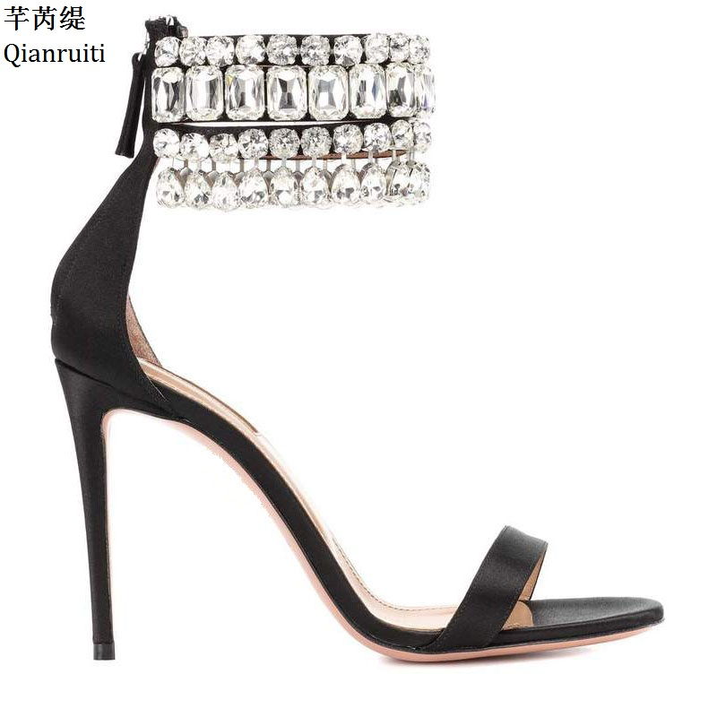 Qianruiti Clear Studded Crystal Ankle Strap Women Pumps Kim Kardashian Style High Heels Sandals Sexy Stiletto Heels Women Shoes qianruiti orange yellow clear pvc stiletto heels women sandals ankle buckle strap women pumps peep toe cut outs high heels shoes