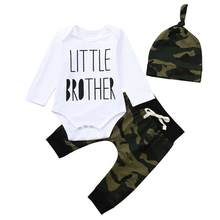 Baby Girl Boy Clothes Newborn Winter Set Letter Romper Jumpsuit Camouflage Pants Baby Clothes 18Jul27(China)