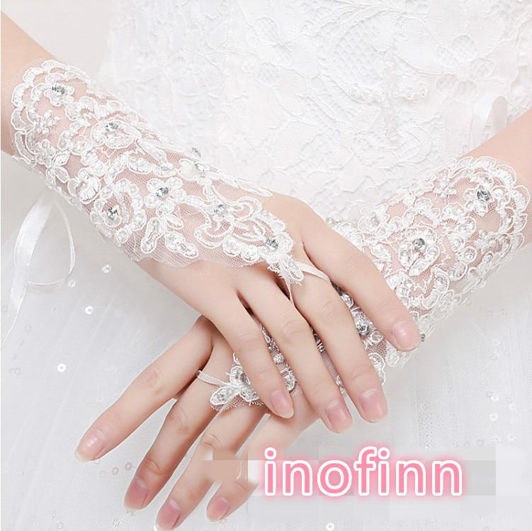 Inofinn Bride Wedding Lace Hook Finger Beaded Beaded Gloves New Short Wedding Gloves Wedding Accessories