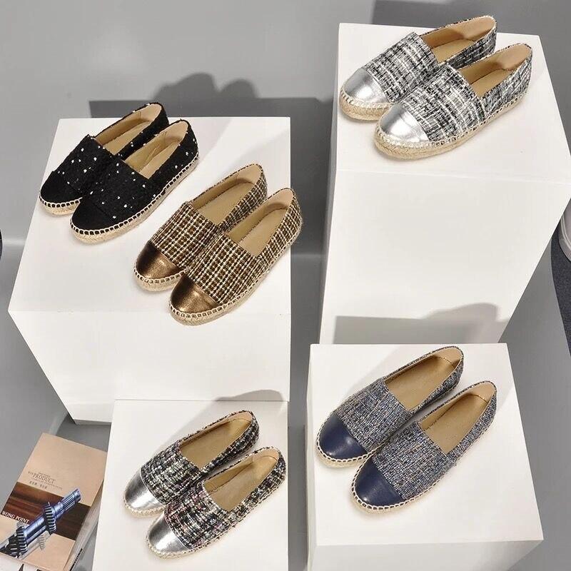Ayakk.'ten Kadın Topuksuz Ayakkabı'de Stkehidba Hakiki Deri kadın Espadrilles En Kaliteli kadın ayakkabısı Avrupa Ünlü Marka Patchwork Espadrilles Ayakkabı 34 42'da  Grup 1