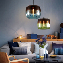 Lampe suspendue en verre coloré, design Art déco, design nordique E27 pendentif LED, luminaire décoratif dintérieur, idéal pour un loft, un salon, un Restaurant ou une chambre à coucher