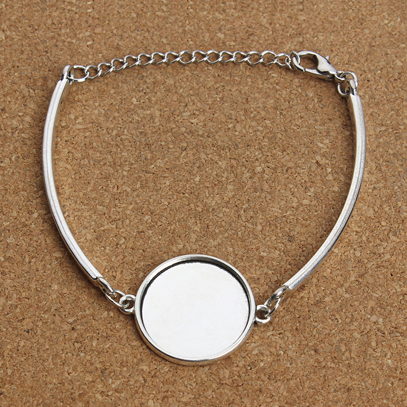 XINYAO Silver Color Metal Blank Cuff Bracelet Bangle Base Fit 20mm Photo Glass Cabochon Setting Bezel Tray Jewelry Making F3765