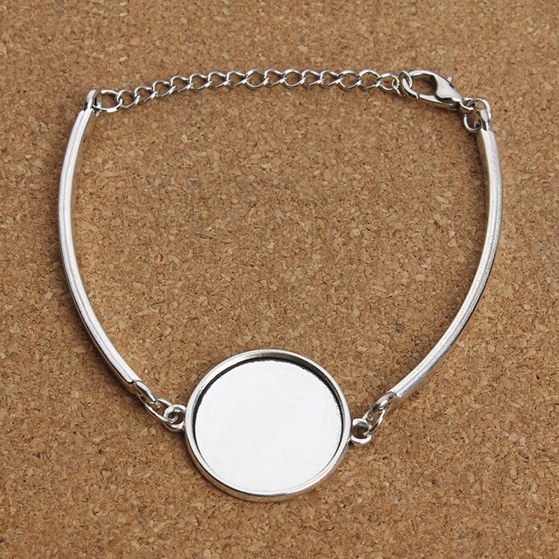 XINYAO Silver Color Metal Blank Cuff Bracelet Bangle Base Fit 20mm Photo Glass Cabochon Setting Bezel Tray Jewelry Making F3765