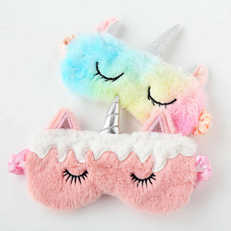 Cute Cartoon Unicorn Sleep Eye Mask Gradual Change Seven-color Fluffy Eye Mask Sleep Assist Eye Mask for Men and Women