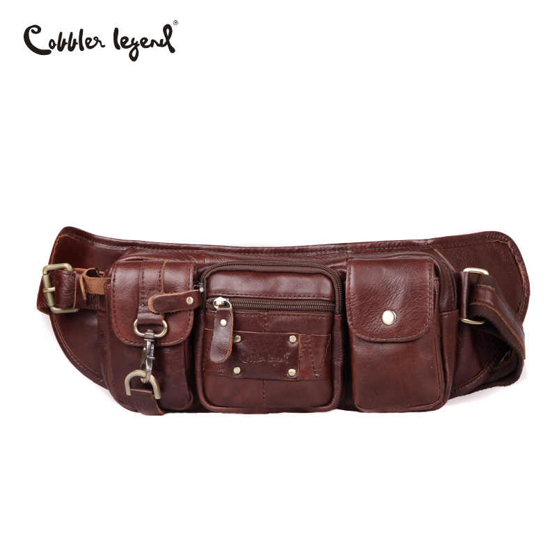 59a1126fdd Cobbler Legend Genuine Leather Waist Packs Belt Bag Pack Phone Pouch Travel  Waist Pack Male Small